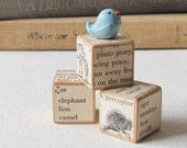 Wee Bluebird- miniature rustic clay art sculpture with wooden blocks