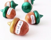 St. Patrick's Day Acorns- rustic holiday decorations, bowl fillers, woodland home decor