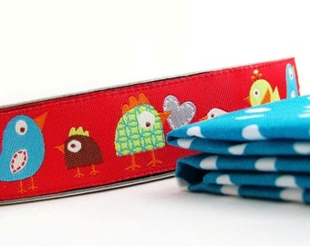 Happy Birds in Red- Woven Jacquard Trim by designer Dena Designs- 1 yard