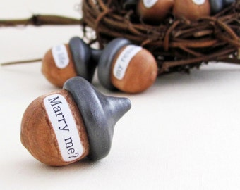 Wedding Engagement Acorns- Home Decor, Rustic Keepsake, Fiancee, Proposal, Head Table Centerpiece, Bowl Fillers