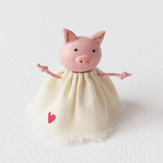 Wee Pig In A Dress. A Miniature Clay Art Sculpture by humbleBea. NEW for 2012