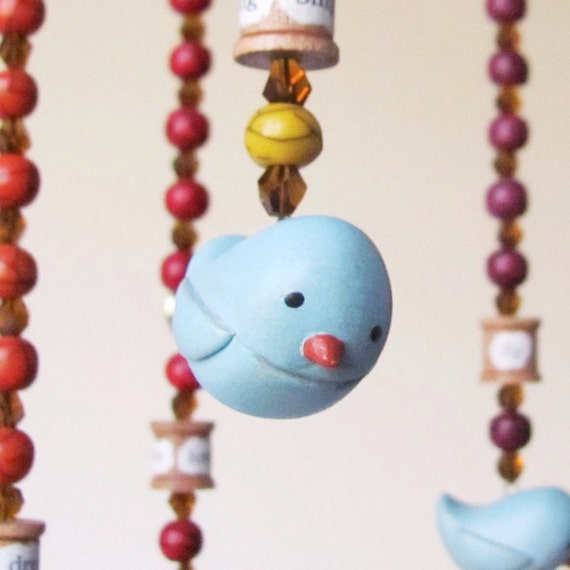 Bird Mobile- hanging ornament with handsculpted bluebirds and rainbow beads