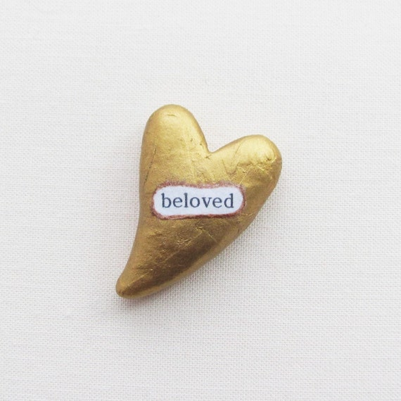 Wee Sentiment. Beloved. Clay Heart of Gold.