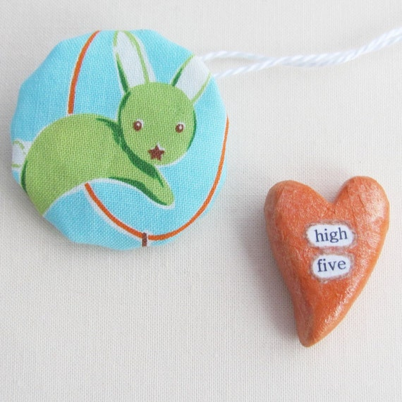 Wee Sentiment with Bunny Gift Pouch. High Five. A Handmade Keepsake Miniature Heart Memento by humbleBea.