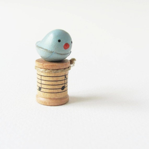 Miniature Bird on a Spool- rustic clay art sculpture for home decor by humbleBea