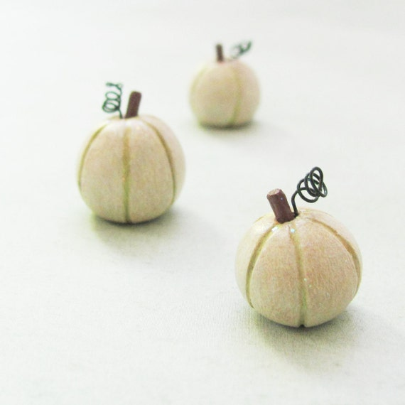 Miniature Pumpkin Trio- Tiny Elegant Sparkly White Gourds-  Wedding, Fairy Tale- Clay Art Sculptures by humbleBea