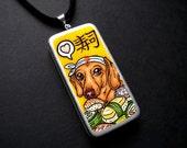 Dachshund and Sushi ORG dog art Domino Pendant