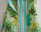 RESERVED FOR MELANIE: Child's Play Cape in Green and Blue Vintage Fabric