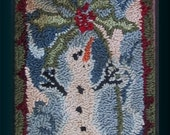 Primitive Punch Needle Pattern Rug Hooking KISS ME Snowman