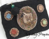 Medium Wool Purse with Sheep and Wool Pennies- Punch Needle