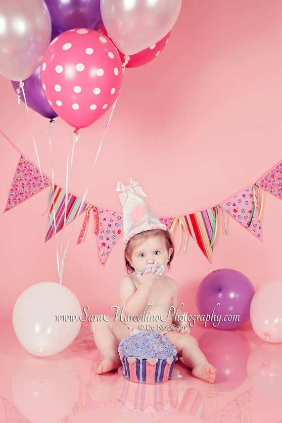 Photography Prop Birthday Banner Cupcakes Dot Stripes Baby Kids Fun