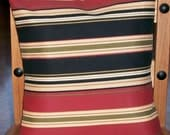 Beige, Black, Green, Red Stripes - Pillow Slip Cover - Striking - Easy - Affordable - 16 inch Square - Mix and Match