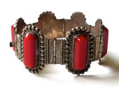Vintage Mexican Sterling Silver Bracelet with Red Bakelite Stones