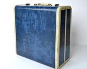 1950s Navy Blue Marbled Samsonite Suitcase