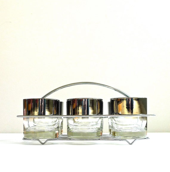 Silver Ombre Mid Century Barware Glasses in Caddy