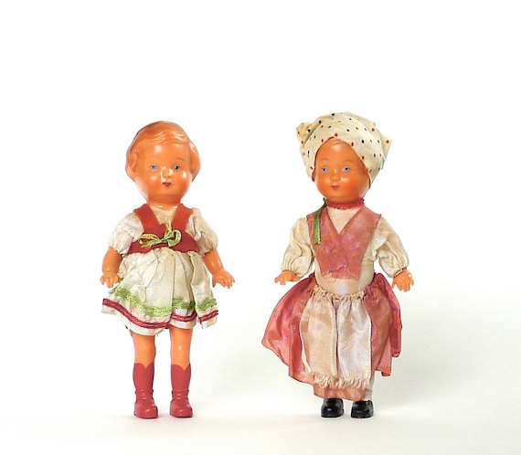 Pair of West German Celluloid Dolls