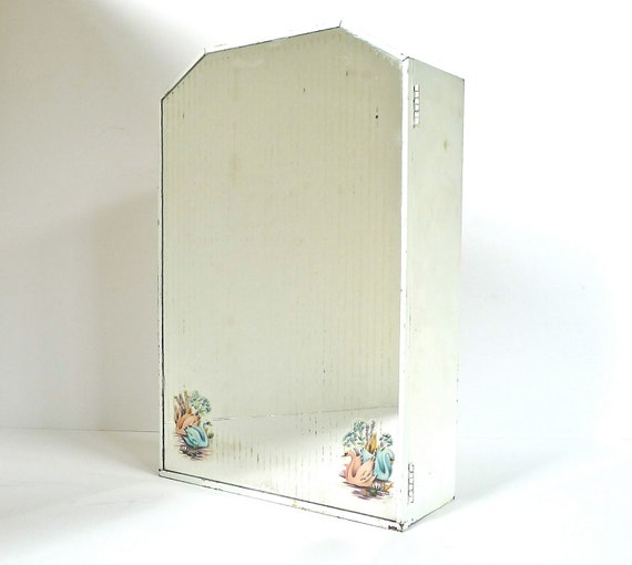 Medicine Cabinet 1940s 50s Retro Blue and Pink Swans