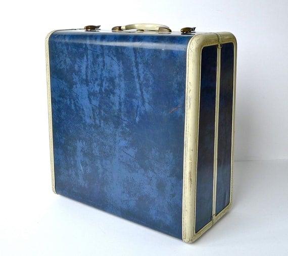 1950s Navy Blue Marbled Samsonite Suitcase