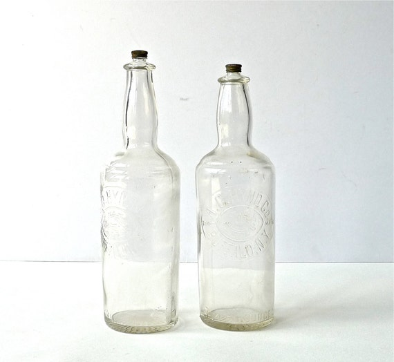 Pair of Antique Barbershop Hair Tonic Bottles