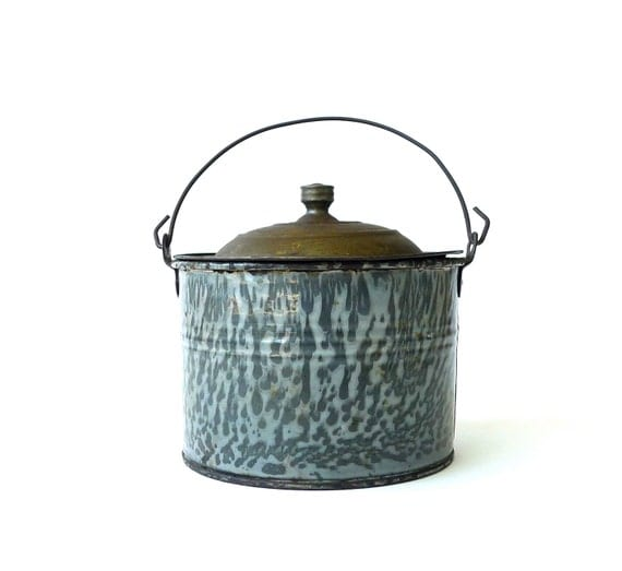 Antique Graniteware Childs Berry Bucket Lunch Pail By