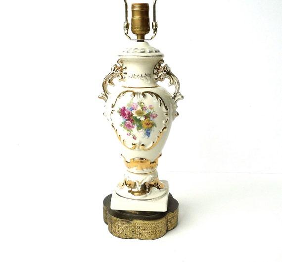 Vintage Porcelain Floral Urn Bedside Or Table Lamp
