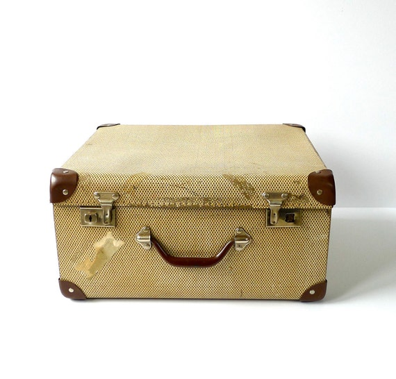 Vintage Shabby Cardboard Square Suitcase