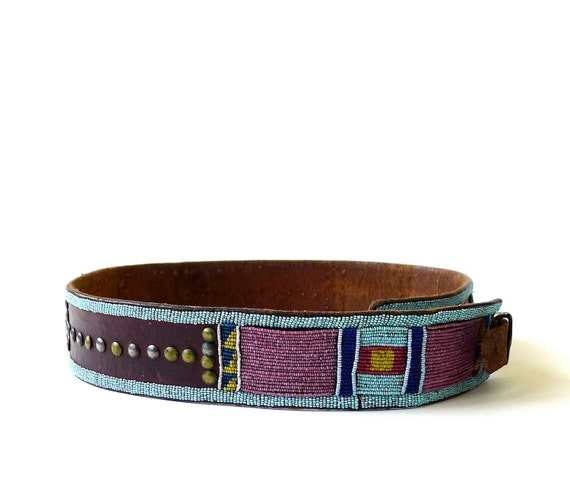 Reserved for John - Vintage Native American Crow Indian Plateau Panel Beaded Belt
