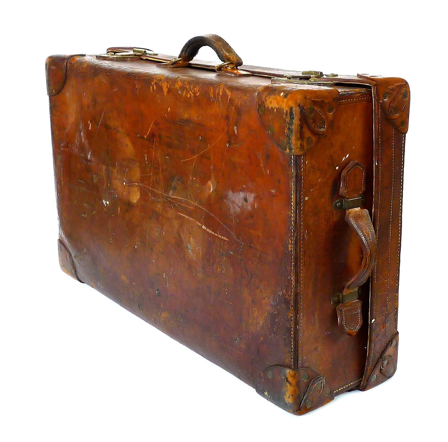 Antique finnigans of london luxury leather trunk suitcase - Vintage suitcase ...