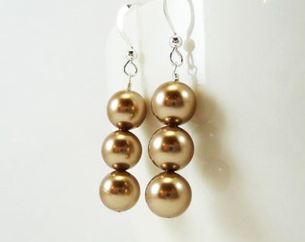 Bronze pearl earrings ARISTOCRAT Bridal Wedding Bridesmaid Swarovski Pearls and Sterling Silver