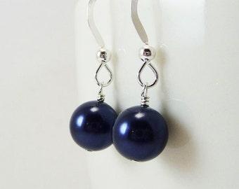Dark Blue pearl earrings BELLE Bridal Wedding Bridesmaid medium size Swarovski Pearls on Sterling silver