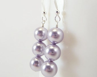 Lavender pearl earrings ARISTOCRAT wedding bridesmaid large Swarovski Pearls and Sterling Silver ear wire