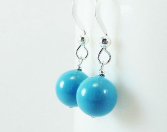 Turquoise pearl earrings BELLE Bridal jewelry Wedding Bridesmaid medium Swarovski pearl Sterling Silver