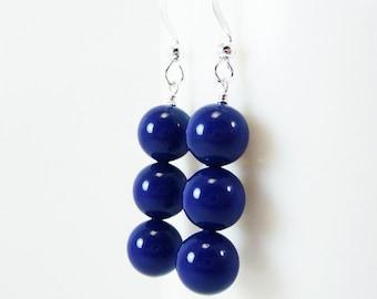 Dark Lapis blue pearl earrings ARISTOCRAT Wedding Bridesmaid Swarovski Pearls on Sterling Silver