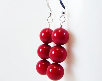 Red Coral pearl earrings ARISTOCRAT Wedding Bridesmaid Swarovski Pearls on Sterling Silver