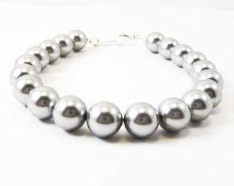 Gray pearl bracelet ARISTOCRAT Bridal Wedding Bridesmaid Swarovski Pearls and Sterling Silver