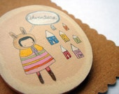Adventure. Wooden Brooch. Pencil and Acrylic.