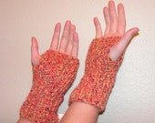 Fm018 Hand Knit Fingerless Mittens Pumpkin Spice Jewel