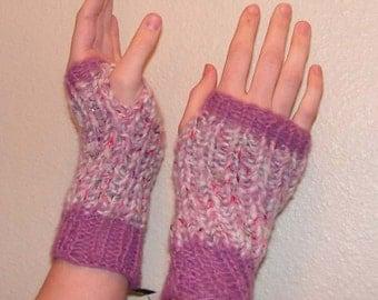 Fm014 Hand Knit Rose Quartz  w Rose Mohair Cuffs Fingerless Mittens