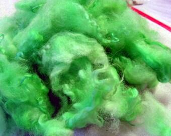 L025 Hand Dyed Green Shetland Locks 1 oz