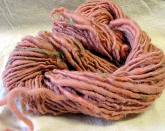y126a Hand Dyed Hand Spun SP Thick and Thin Wool with Mohair Curls
