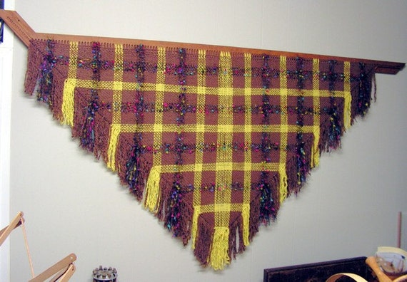 Hand Woven Large Triangular Shawl Brown, Yellow Boucle And Fancy Fur