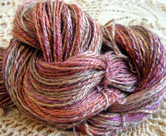 y0182 Hand Spun Bamboo Yarn Prairie Dusk 116Y 2Ply Worsted Weight