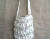 Boho Ruffle Messenger Cross Body Bag in all natural white flax a true bayou boho original