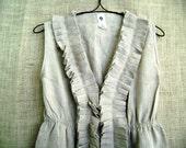 Natural Linen Ruffle Dress in Burlap colored flax  bayou boho  fits all s m l xl plus
