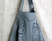 Ruffle Tote Bag in a railroad conductor ticking French Market Bayou Boho Hobo denim Ready to ship...