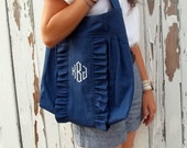French Market Bag new style navy canvas with monogram large hobo ruffle tote from down de bayou