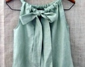 Ordering On HoldLinen Bow Ruffle Dress in Cypress Green from down de bayou...available in small  medium large extra large and plus