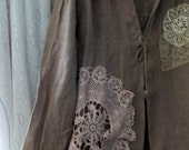 Deconstructed linen and lace long jacket cocoa brown a southern gothic original from down de boho bayou fits s m l xl