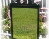 Upcycled Country Cottage Large Black Distressed Federal Style Mirror