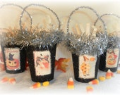 Vintage Victorian Inspired Halloween Postcard  Black  Candy Treat Cup Favors - Shabby Chic Halloween Decorations